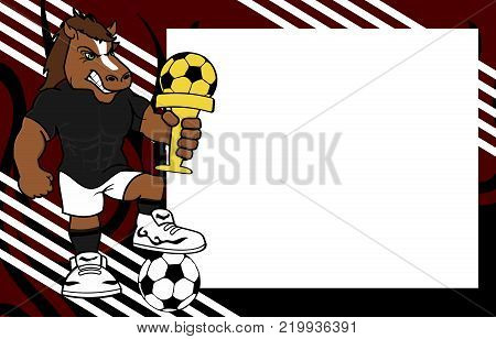 strong sporty horse futbol soccer player cartoon picture frame background in vector format