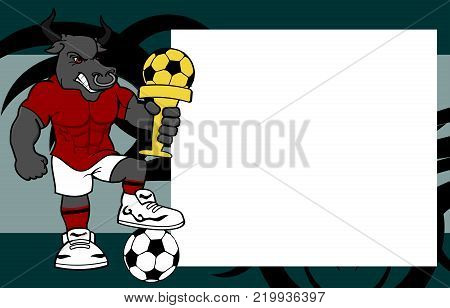 strong sporty bull futbol soccer player cartoon picture frame background in vector format