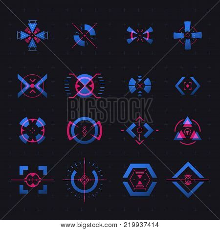 Set of isolated vector aim of sniper weapon, shooting marks, game target. Futuristic hud elemets for crosshair, radar location, accuracy sign for ui. Military, aiming, gun, rifle. Radar location theme poster