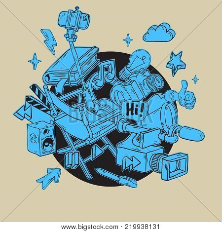 Video Blogging Design With Isolated Essential Related Objects Elements  And Tools Artistic Cartoon Hand Drawn Sketchy Line Art Style Drawings Illustrations Icons And Symbols Vector Graphic.