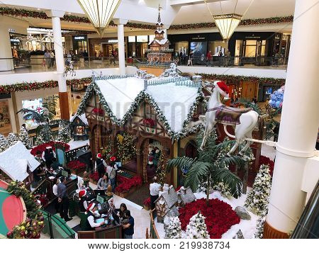 COSTA MESA, CALIFORNIA - DEC 19, 2017: Santa's Village in the Carousel Court area of South Coast Plaza, in Southern California.