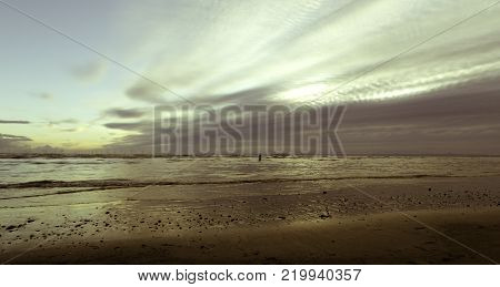 Sunrise on Crosby Beach, Crosby, Liverpool, United Kingdom