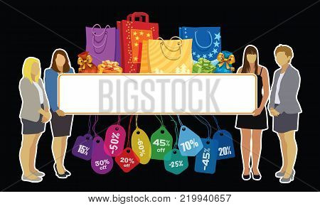 Sesonal promotion. Group of girls holding a big blank banner with colorful price tags, shopping bags and gifts