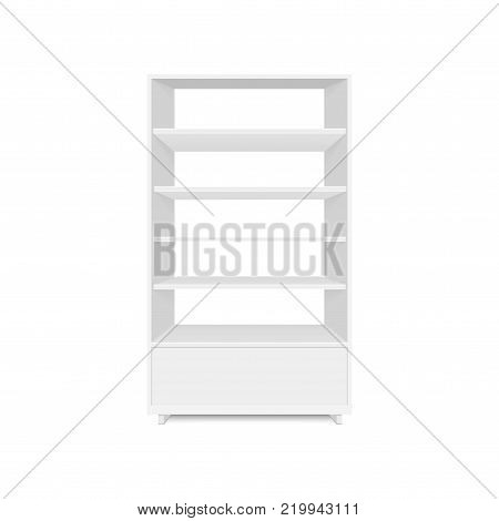 Blank empty showcases display with retail shelves. Front view. Vector mock up template ready for your design