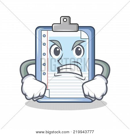 Angry clipboard character cartoon style vector illustration