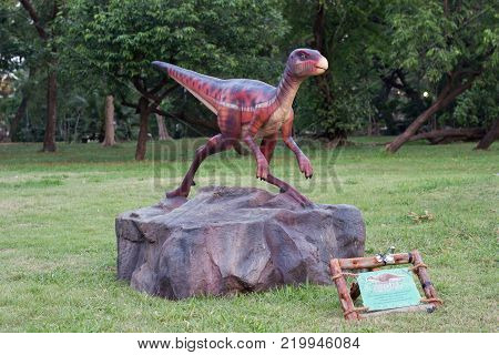 Lumpini Park Bangkok Thailand: January 22, 2017:-  Dinosaur Exhibition Simulation at Public Park dinosaur simulation at park outdoor Lumpini Park for children and family learning and travel