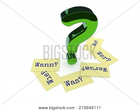 Glossy green question mark, six sticky notes on the ground with the German words Why, When, How, Where, What and Who on a white background, 3d rendering