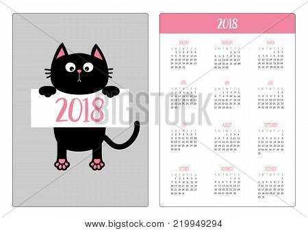 Pocket calendar 2018 year. Week starts Sunday. Dog Cat upside down. Pet adoption. Adopt me. Dont buy. Puppy pooch kitty cat looking up. Flat design. Help homeless animal. White background. Vector