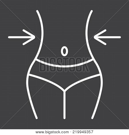 Weight loss line icon, fitness and sport, slim body with measuring tape sign vector graphics, a linear pattern on a black background, eps 10.