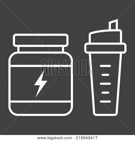 Whey protein with sports shaker line icon, fitness and sport, nutrition sign vector graphics, a linear pattern on a black background, eps 10.