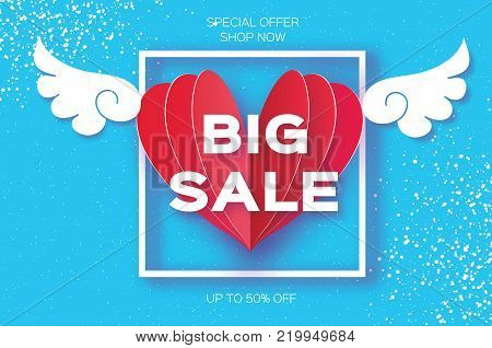 Valentines day sale offer, banner template. Big sale. Origami angel wings. Red heart. Love. Winged heart in paper cut style. Square frame. Text. Romantic Holidays on blue. 14 February. Vector