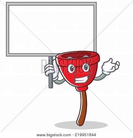 Bring board plunger character cartoon style vector illustration