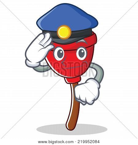 Police plunger character cartoon style vector illustration