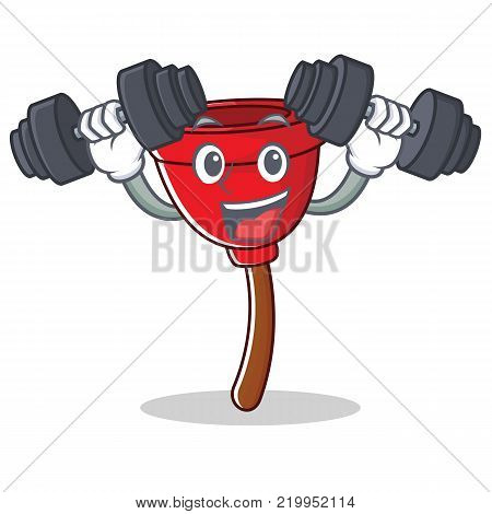 Fitness plunger character cartoon style vector illustration