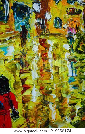 Fragment of oil painting, palette knife, Impressionism, thick layer of paint on canvas, people, road, rain, reflection, yellow, white, art artwork