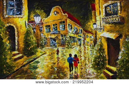 oil painting palette knife impressionism canvas - Old French night city, evening street, yellow houses with red roofs, man hugs a woman, white lanterns, people on the street, reflection, pines. architecture, house