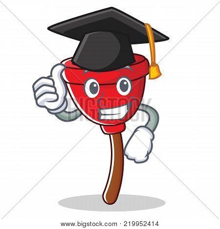 Graduation plunger character cartoon style vector illustration