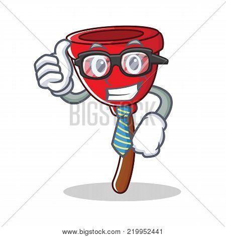 Businessman plunger character cartoon style vector illustration
