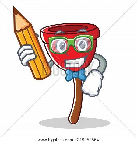 Student plunger character cartoon style vector illustration