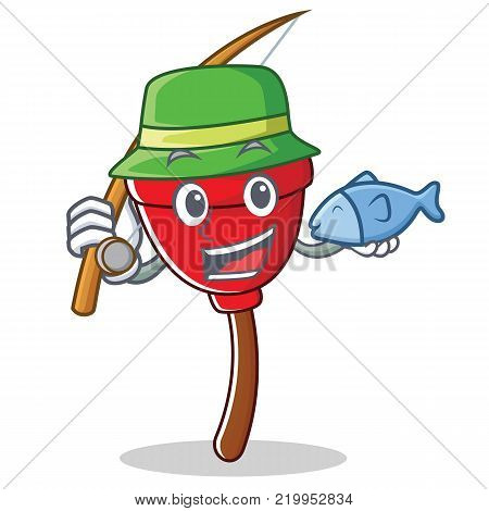 Fishing plunger character cartoon style vector illustration