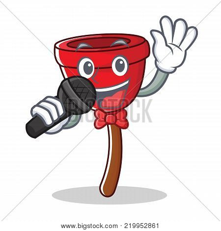 Singing plunger character cartoon style vector illustration