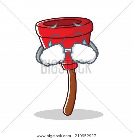 Crying plunger character cartoon style vector illustration
