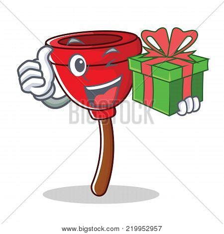 With gift plunger character cartoon style vector illustration