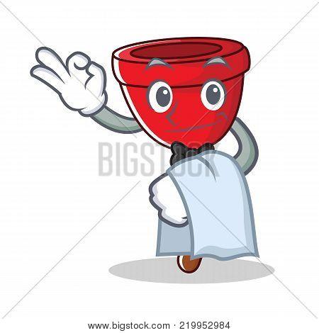 Waiter plunger character cartoon style vector illustration