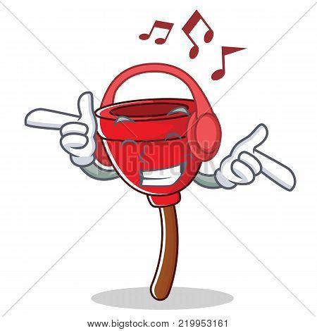 Listening music plunger character cartoon style vector illustration