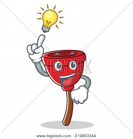 Have an idea plunger character cartoon style vector illustration