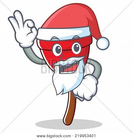 Santa plunger character cartoon style vector illustration