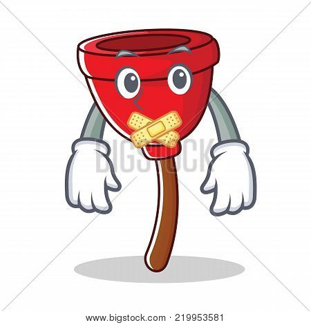Silent plunger character cartoon style vector illustration