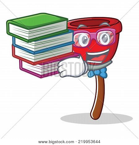 Student with book plunger character cartoon style vector illustration