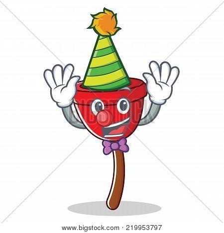 Clown plunger character cartoon style vector illustration