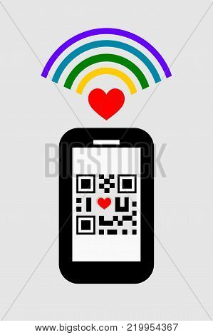 Flat design of smartphone, wifi signal and QR code with ' I love you' symbol. Technology and love concept.