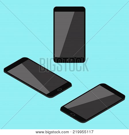 Cell phone. Flat isometric. Modern technologies of communication and management. Black smart-phone. Touchscreen display. Vector illustration.