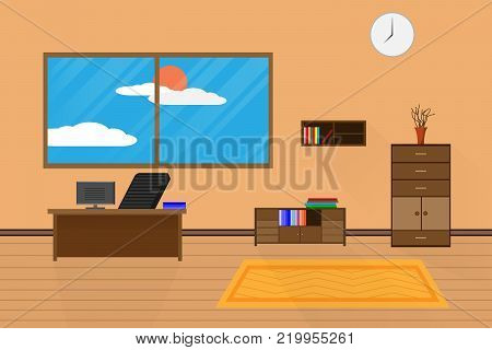 interior office design relax with computer on table chair bookcase and window. vector illustration