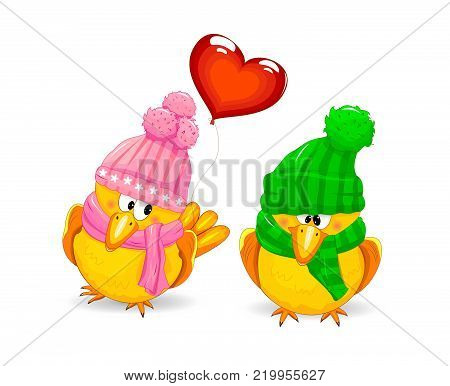 Cartoon little birds with hats. Birds on a white background. Birds dressed in winter knitted headdresses. A bird with a balloon in the form of a heart.