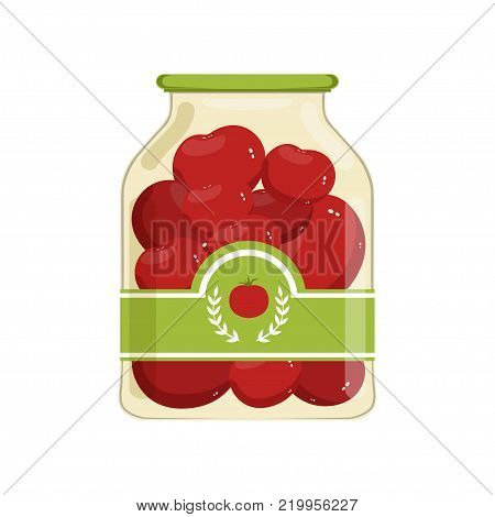Cartoon glass jar of red marinated tomatoes. Bank with vegetable on brand label. Canned food concept. Ingredients for cooking. Design for poster or flyer. Flat vector illustration isolated on white.
