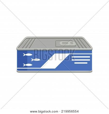 Flat vector illustration of canned sardines or sprat fish in can with ring-pull. Concept of conserved food. Cartoon graphic design isolated on white background. Element for promo poster, flyer, banner