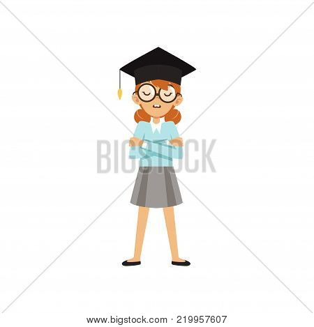 Nerd schoolgirl standing with arms crossed in student cap. Cartoon kid character in glasses, blue blouse and gray skirt. Confident smart person. Flat vector illustration isolated on white background.