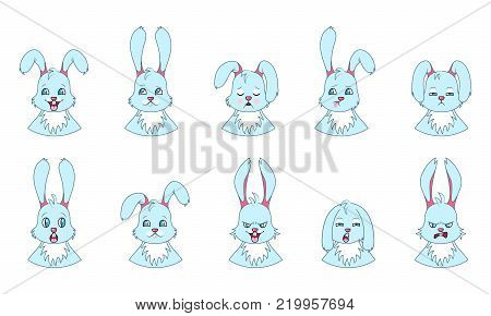 Heads of Rabbit with Different Emotions - Smiling, Sad, Anger, Aggression, Drowsiness, Fatigue, Malice Fear - Illustration Vector