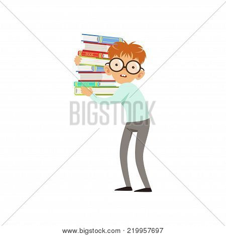 Funny nerd boy carrying stack of books. Cartoon schooler character in glasses, shirt and pants. Smart kid with two large front teeth. Vector illustration in flat style isolated on white background.