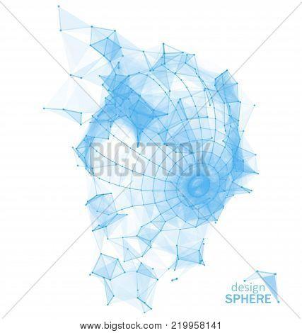 Broken Polygonal Wireframe Sphere. Geometric Smashed Form - Illustration Vector