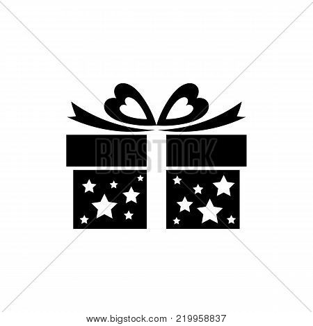Gift box icon with bow, ribbon and stars. Sale, shopping concept. Gift boxes, presents isolated on white. Romantic gift for Valentine's Day. Present icon in flate style. Vector illustration