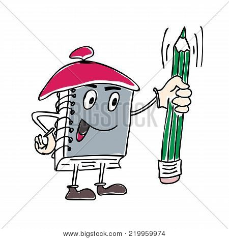 Vector Illustration of character Notebook Mascot Holding a Pen.
