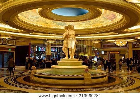 Las Vegas, Nevada, United States of America - November 19, 2017. Lobby of Caesars Palace casino hotel in Las Vegas, with statues and people.