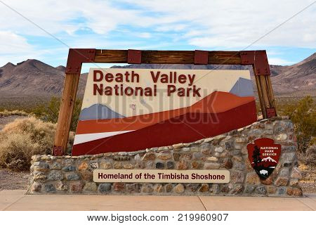 Death Valley National Park, California, USA - November 23, 2017. Sign at the entrance to Death Valley National Park in California, USA.