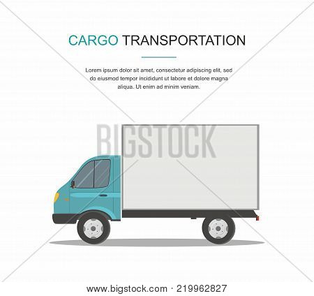 Blue Cargo Delivery Van Isolated on White Background