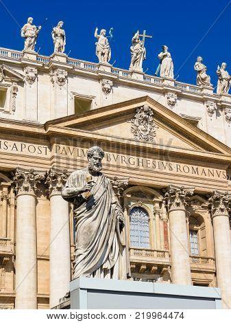 Statue of Saint Peter at an entrance to the Saint Peter Basilica, Vatican City, Vatican